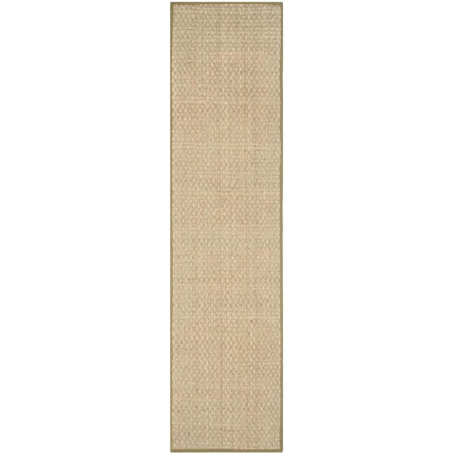 Safavieh Natural Fiber Hampton Natural/Olive Indoor Coastal Runner (Common: 2 x 10; Actual: 2.5-ft W x 10-ft L)