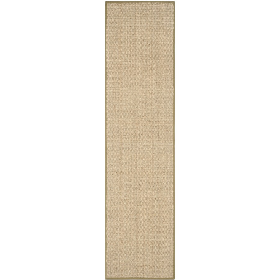 Safavieh Natural Fiber Hampton Natural/Olive Rectangular Indoor Machine-made Coastal Runner (Common: 2 x 16; Actual: 2.5-ft W x 16-ft L)