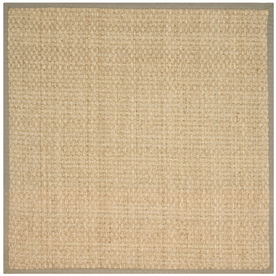 Safavieh Natural Fiber Natural and Olive Square Indoor Machine-Made Coastal Area Rug (Common: 7.10 x 7.10; Actual: 8-ft W x 8-ft L)
