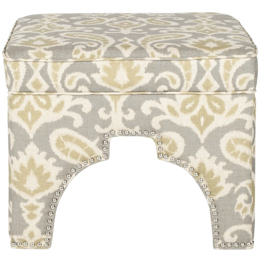 Safavieh Mercer Light Grey and Off White Square Ottoman