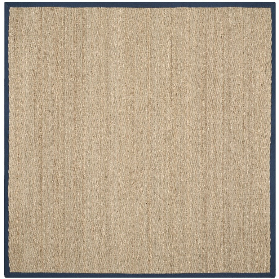 Safavieh Natural Fiber Montauk Natural/Blue Square Indoor Coastal Area Rug (Common: 6 x 6; Actual: 6-ft W x 6-ft L)