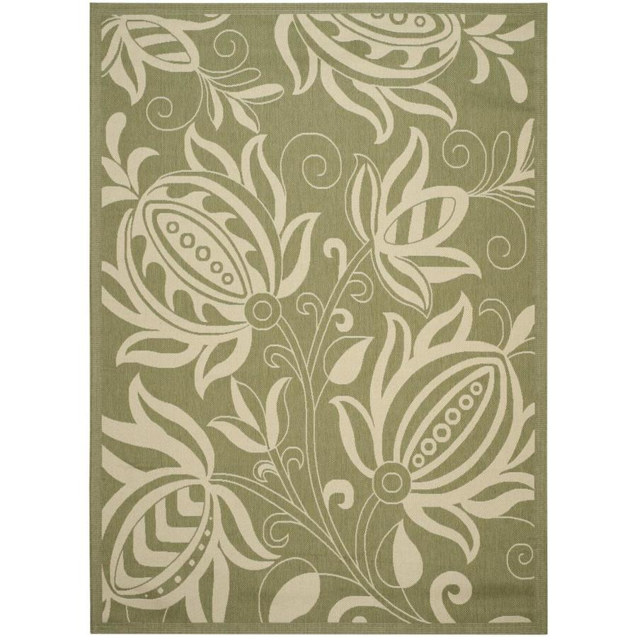 Safavieh Courtyard Blossums Olive/Natural Indoor/Outdoor Coastal Area Rug (Common: 9 x 12; Actual: 9-ft W x 12.5-ft L)