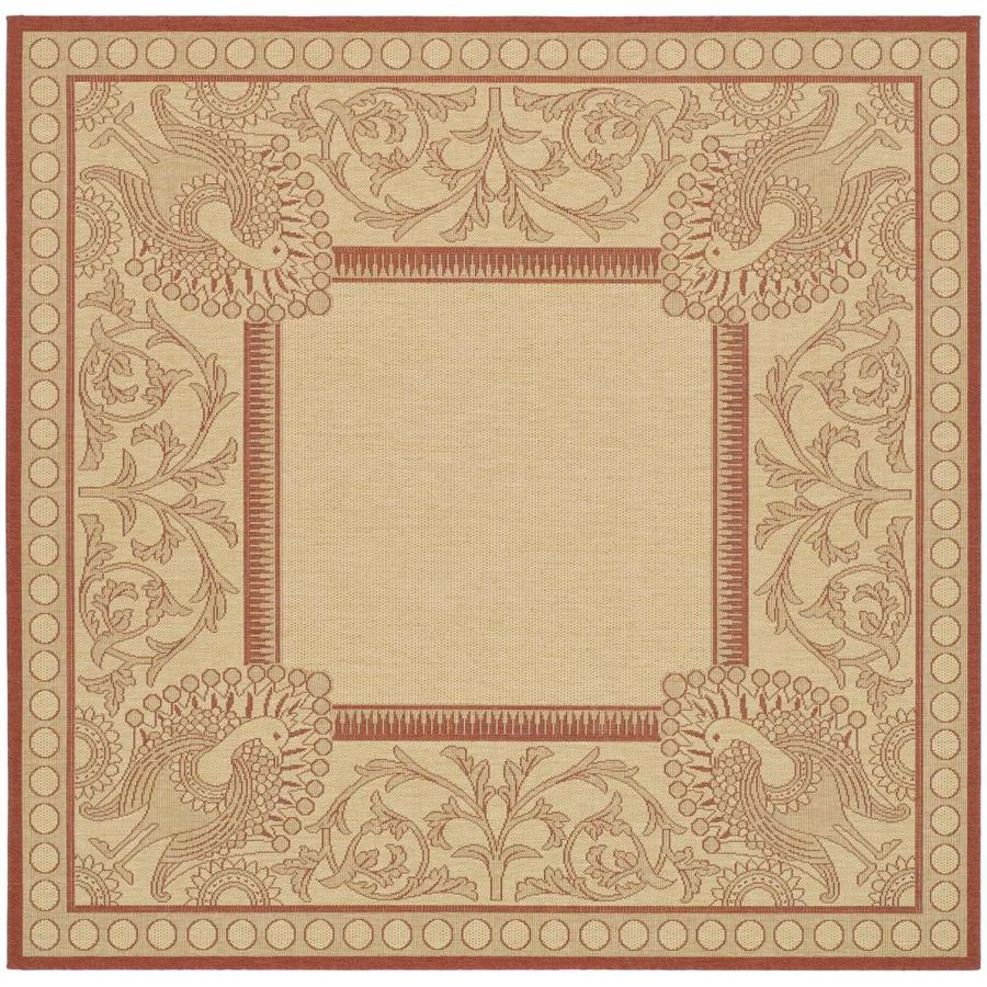 Indoor Outdoor Rugs Square: Safavieh Courtyard Abaco Natural/Red Square Indoor/Outdoor