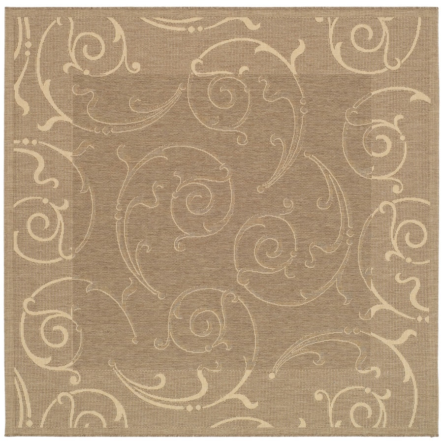 Safavieh Courtyard 7-ft 10-in x 7-ft 10-in Square Tan Transitional Indoor/Outdoor Area Rug