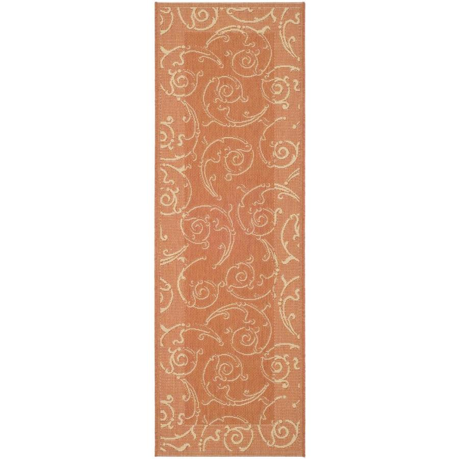 Safavieh Courtyard Terracotta/Natural Rectangular Indoor/Outdoor Machine-Made Coastal Runner (Common: 2 x 10; Actual: 2.25-ft W x 9.0833-ft L)