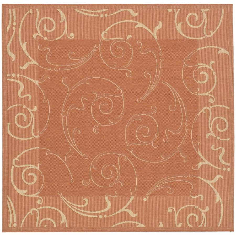 Safavieh Courtyard Sc-Roll Terracotta/Natural Square Indoor/Outdoor Machine-made Coastal Area Rug (Common: 6 x 6; Actual: 6.58-ft W x 6.58-ft L)