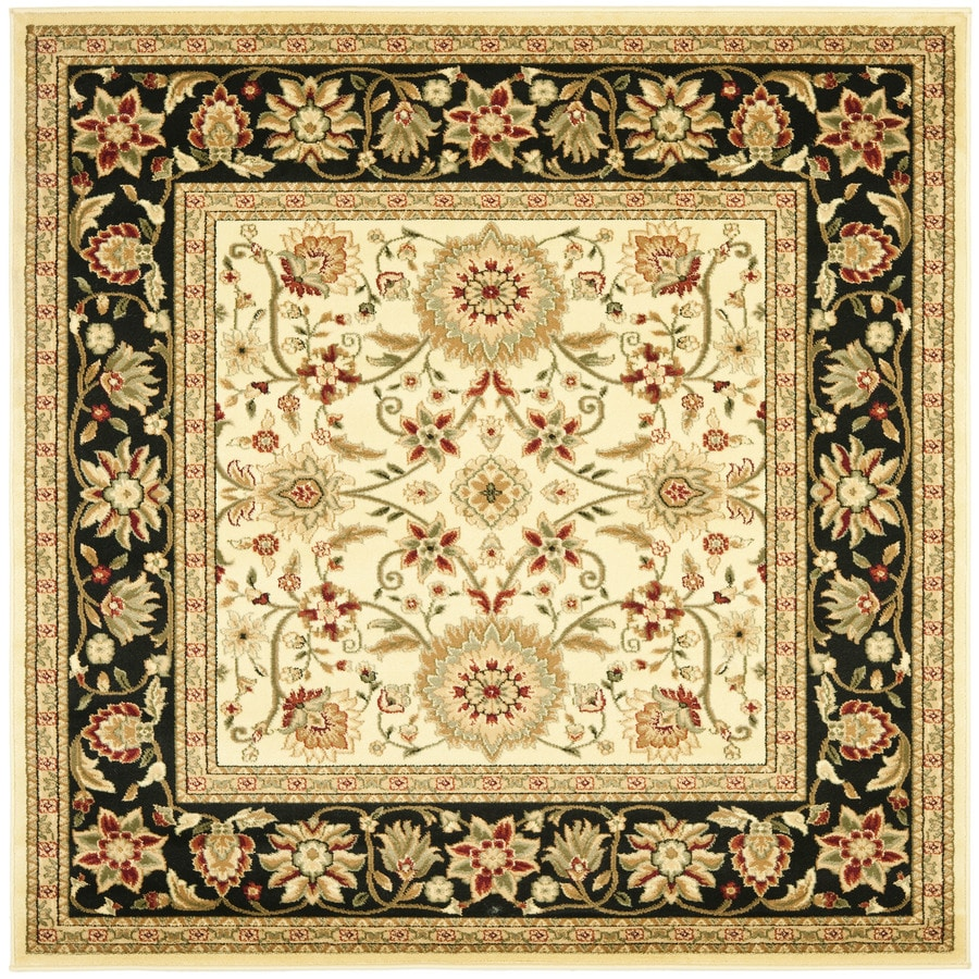 Safavieh Lyndhurst Sarouk Ivory/Black Square Indoor Machine-made Oriental Area Rug (Common: 8 x 8; Actual: 8-ft W x 8-ft L)