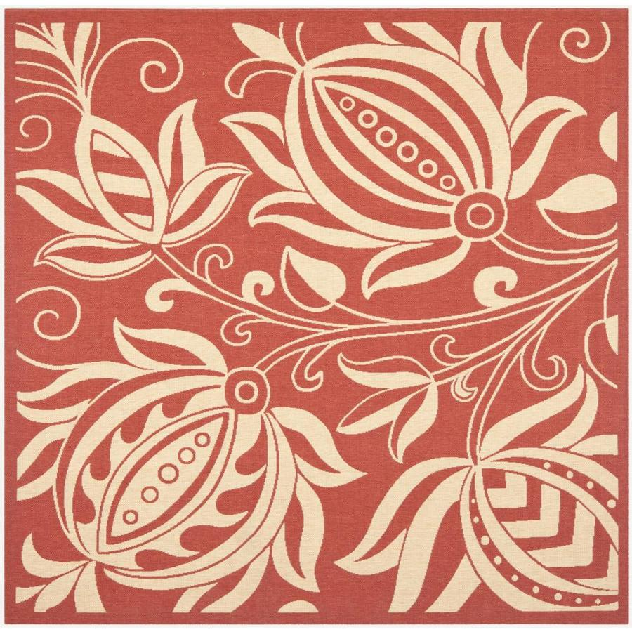 Safavieh Courtyard Blossums Red/Natural Square Indoor/Outdoor Machine-made Coastal Area Rug (Common: 6 x 6; Actual: 6.58-ft W x 6.58-ft L)