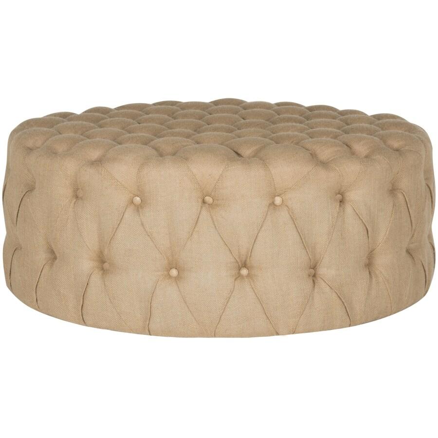 Safavieh Charlene Modern Beige Round Ottoman