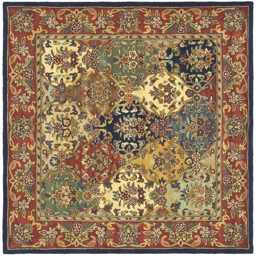 Safavieh Heritage Abaya Multi/Burgundy Square Indoor Handcrafted Oriental Area Rug (Common: 6 x 6; Actual: 6-ft W x 6-ft L)