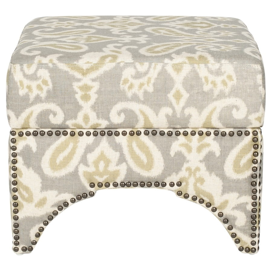 Safavieh Declan Modern Light Gray and Off-White Ottoman
