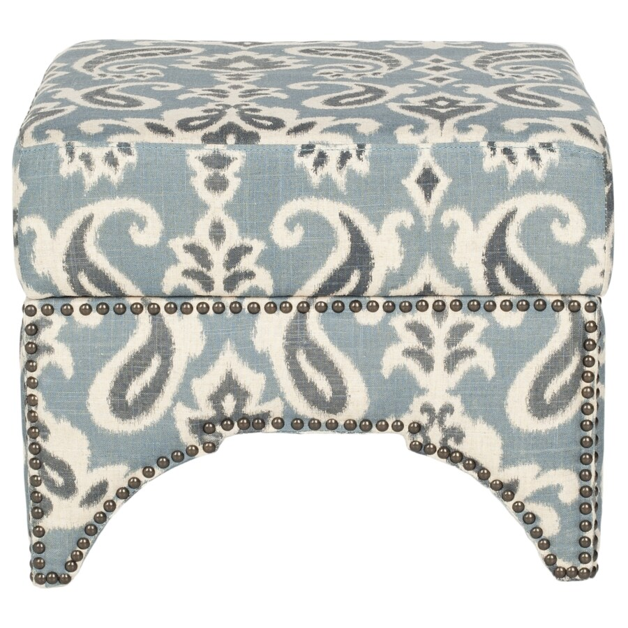 Safavieh Declan Blue/Gray and Off White Square Storage Ottoman