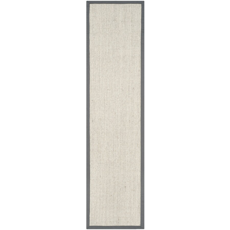 Safavieh Natural Fiber Saltaire Marble/Gray Rectangular Indoor Machine-made Coastal Runner (Common: 2 x 12; Actual: 2.5-ft W x 12-ft L)