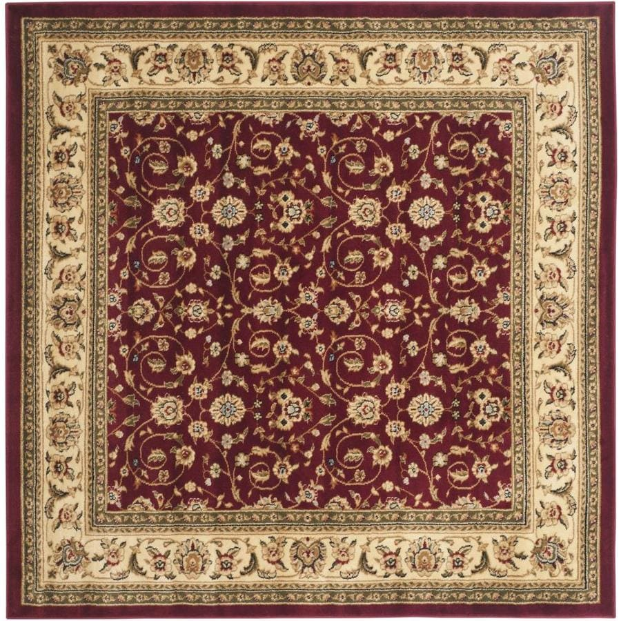 Safavieh Lyndhurst Qum Red/Ivory Square Indoor Machine-made Oriental Area Rug (Common: 8 x 8; Actual: 8-ft W x 8-ft L)