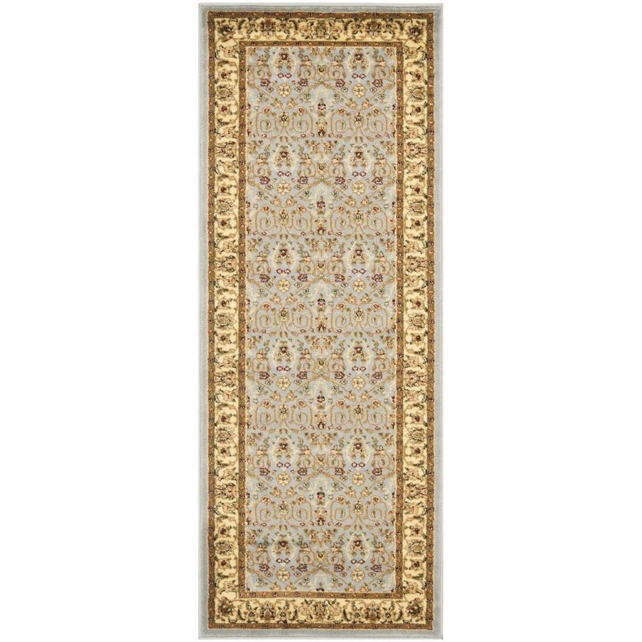 Safavieh Lyndhurst Qum Light Blue/Ivory Rectangular Indoor Machine-made Oriental Runner (Common: 2 x 6; Actual: 2.25-ft W x 6-ft L)