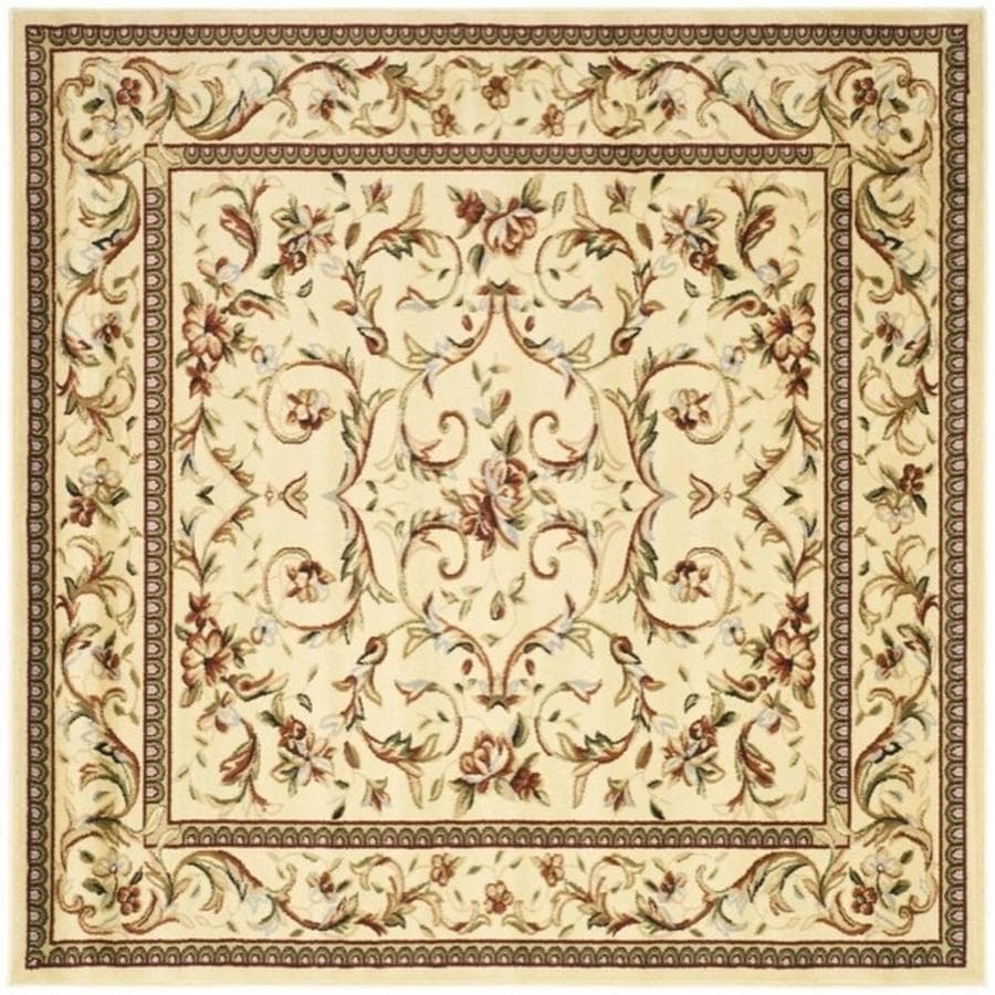 Safavieh Lyndhurst Lyon Ivory/Ivory Square Indoor Machine-made Oriental Area Rug (Common: 6 x 6; Actual: 6-ft W x 6-ft L)