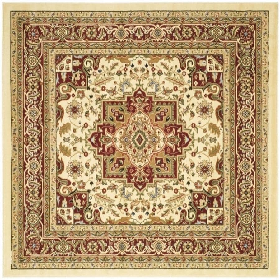 Safavieh Lyndhurst Heriz Ivory/Red Square Indoor Machine-made Oriental Area Rug (Common: 6 x 6; Actual: 6-ft W x 6-ft L)