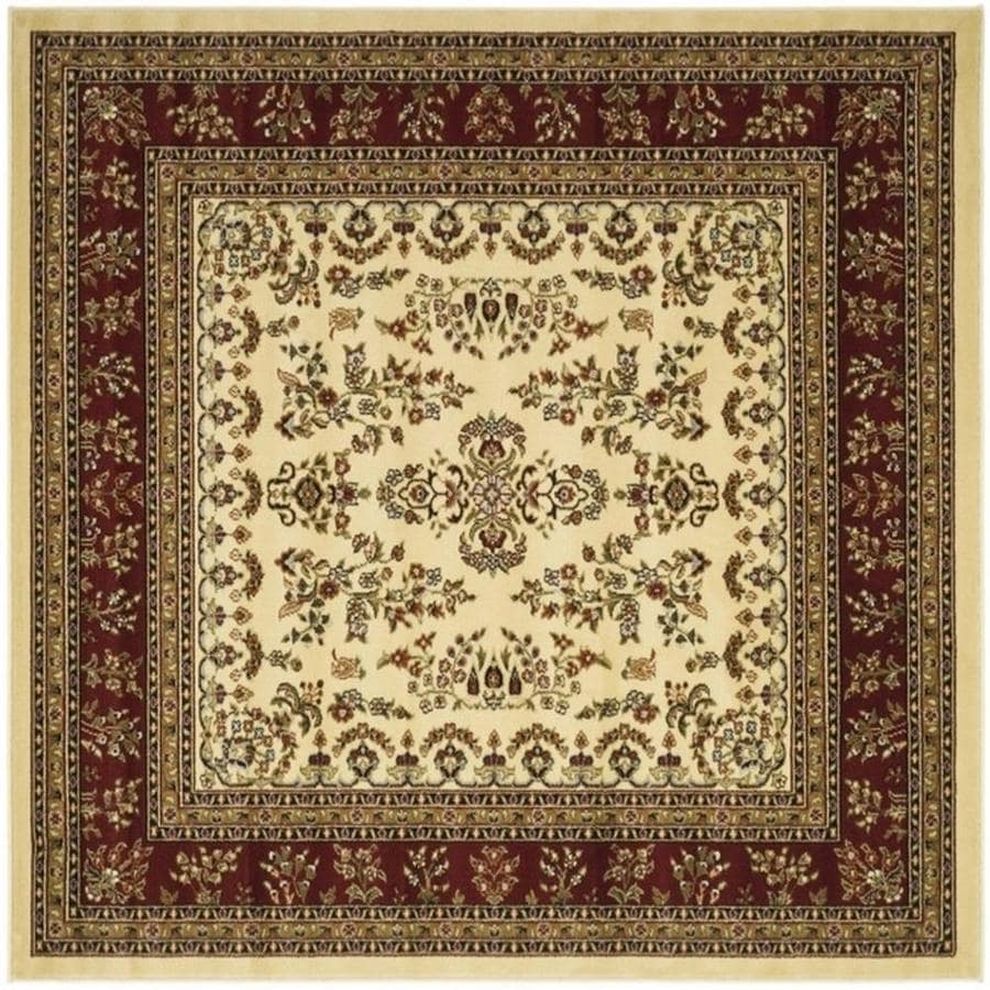 Safavieh Lyndhurst Hamadan Ivory/Red Square Indoor Machine-made Oriental Area Rug (Common: 8 x 8; Actual: 8-ft W x 8-ft L)
