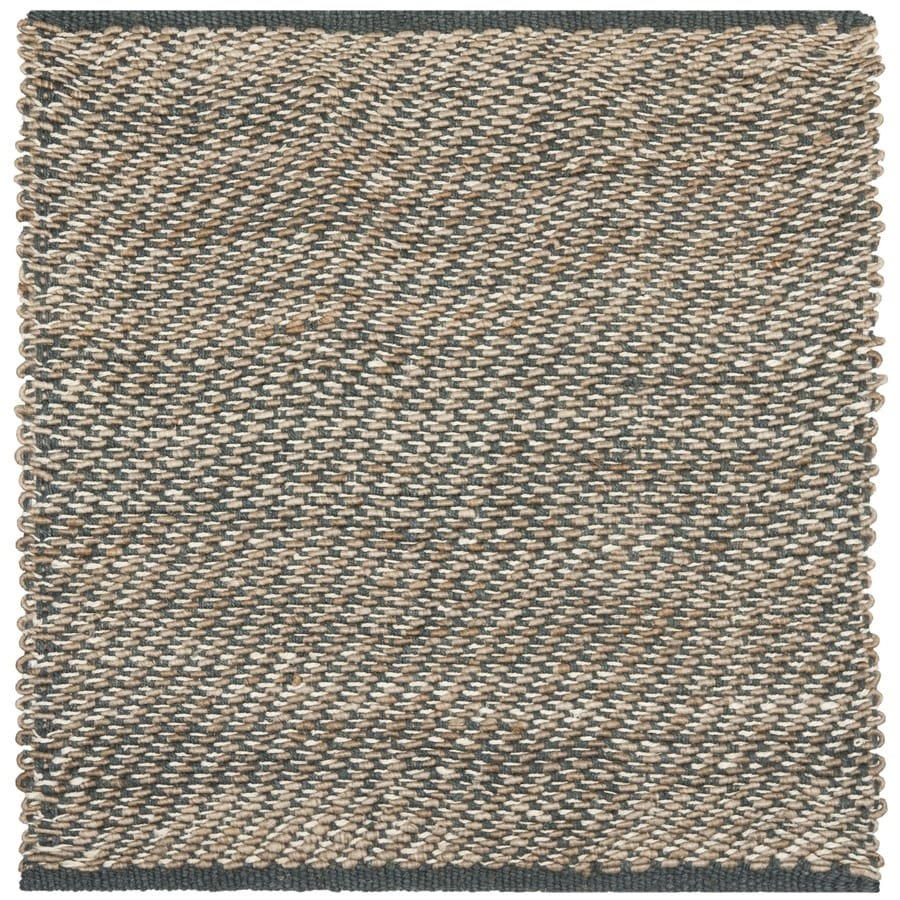 Safavieh Natural Fiber Munsey Blue/Natural Square Indoor Handcrafted Coastal Area Rug (Common: 6 X 6; Actual: 6-ft W x 6-ft L)