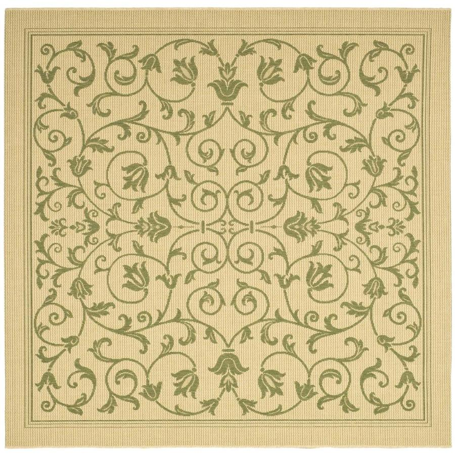 Safavieh Courtyard Natural/Olive Square Indoor/Outdoor Machine-Made Coastal Area Rug (Common: 7 x 7; Actual: 6.58-ft W x 6.5833-ft L)