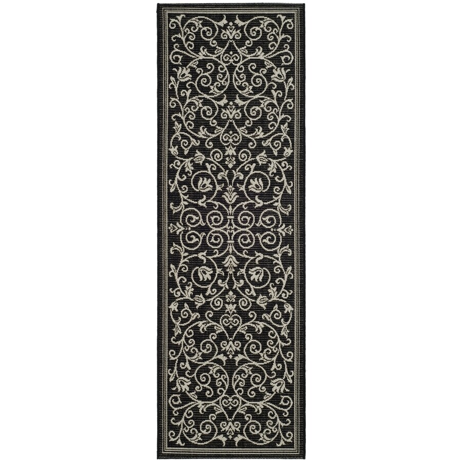 Safavieh Courtyard Black/Sand Rectangular Indoor/Outdoor Machine-Made Coastal Runner (Common: 2 x 10; Actual: 2.25-ft W x 9.08333333333333-ft L x 0-ft Dia)