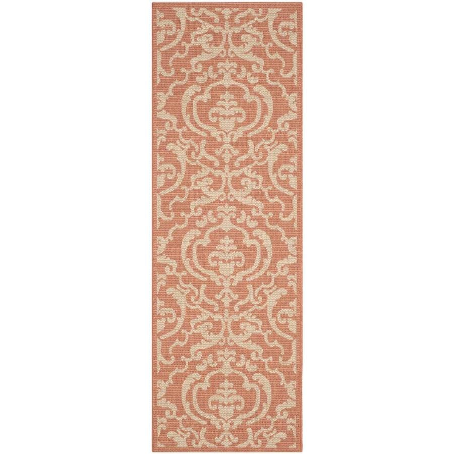 Safavieh Courtyard Damask Medallion Terracotta/Natural Rectangular Indoor/Outdoor Machine-made Coastal Runner (Common: 2 x 10; Actual: 2.25-ft W x 10-ft L)