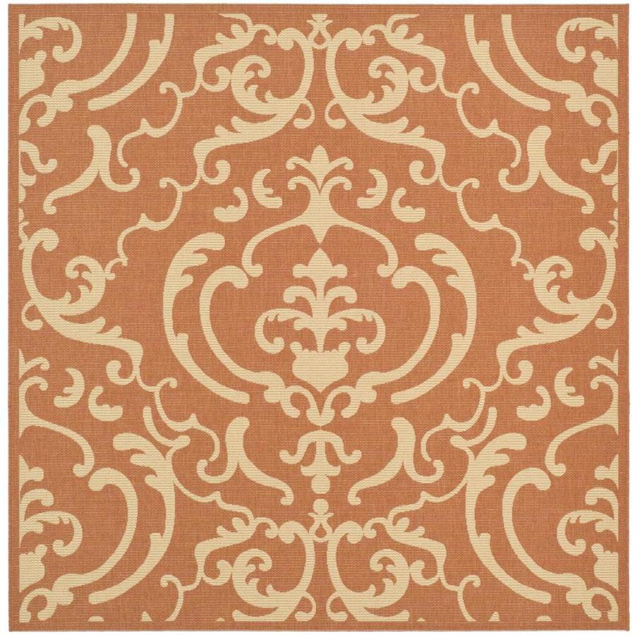 Safavieh Courtyard Terracotta/Natural Square Indoor/Outdoor Machine-Made Coastal Area Rug (Common: 6 x 6; Actual: 6.583-ft W x 6.583-ft L)