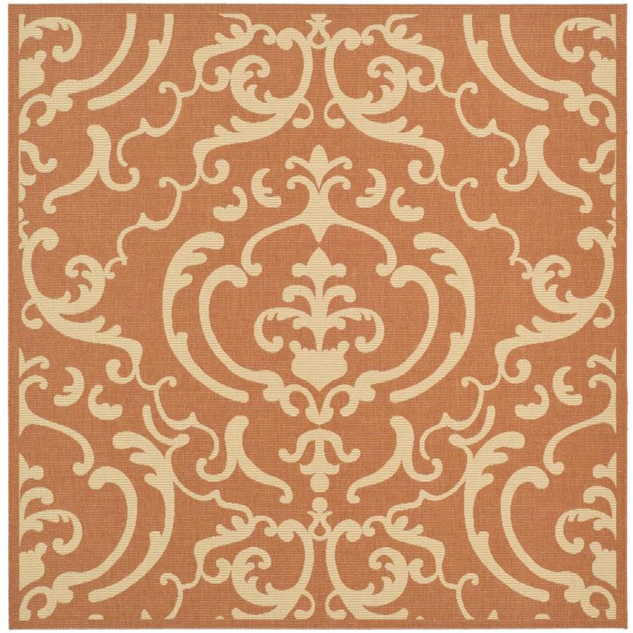 Safavieh Courtyard Damask Medallion Terracotta/Natural Square Indoor/Outdoor Machine-made Coastal Area Rug (Common: 7 x 7; Actual: 7.83-ft W x 7.58-ft L)