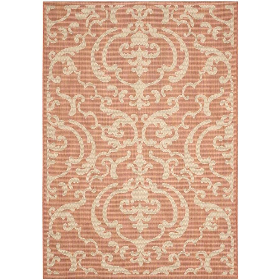 Safavieh Courtyard Damask Medallion Terracotta/Natural Rectangular Indoor/Outdoor Machine-made Coastal Area Rug (Common: 9 x 12; Actual: 9-ft W x 12-ft L)