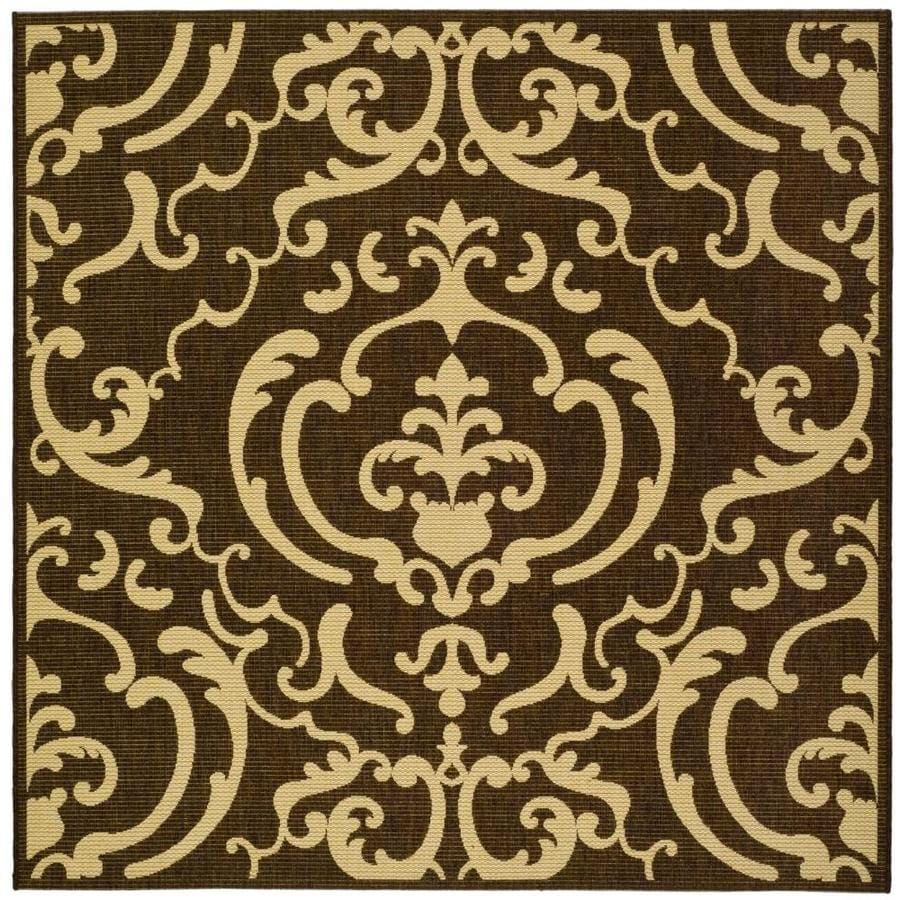 Safavieh Courtyard Damask Medallion Chocolate/Natural Square Indoor/Outdoor Machine-made Coastal Area Rug (Common: 6 x 6; Actual: 6.58-ft W x 6.58-ft L)