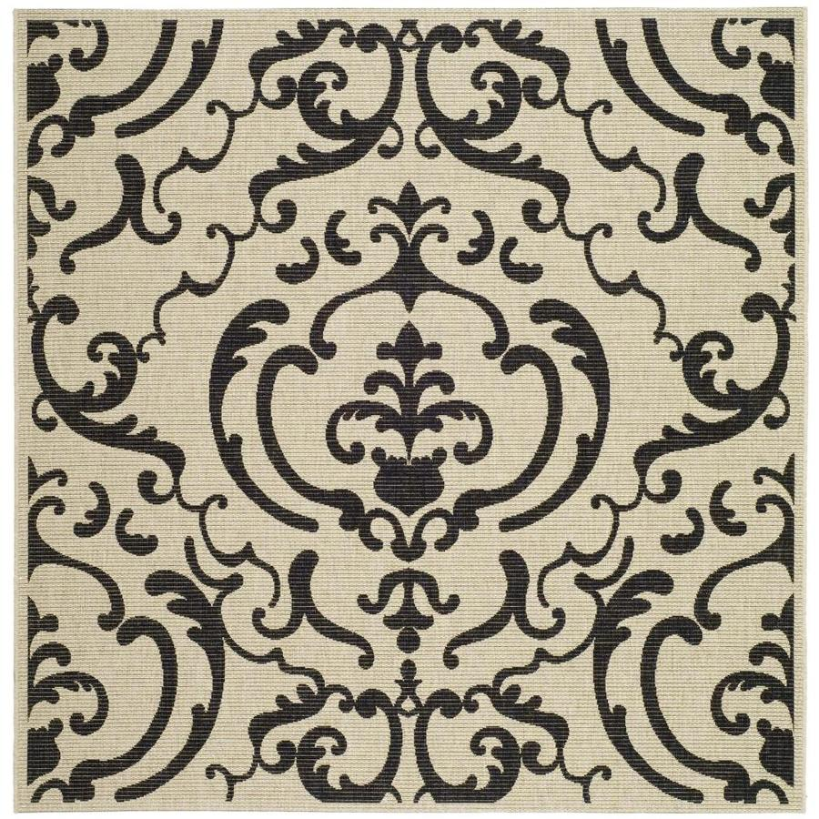Safavieh Courtyard Damask Medallion Sand/Black Square Indoor/Outdoor Machine-made Coastal Area Rug (Common: 6 x 6; Actual: 6.58-ft W x 6.58-ft L)