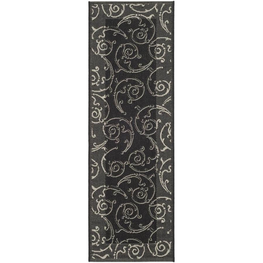 Safavieh Courtyard Black/Sand Rectangular Indoor/Outdoor Machine-Made Coastal Runner (Common: 2 x 10; Actual: 2.25-ft W x 9.0833-ft L)
