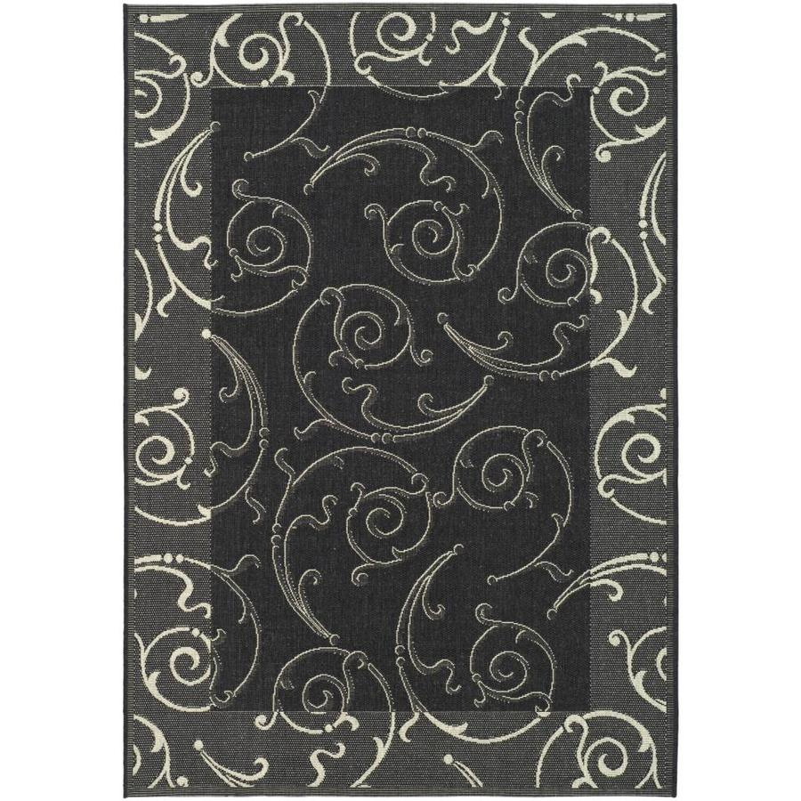 Safavieh Courtyard Sc-Roll Black/Sand Rectangular Indoor/Outdoor Machine-made Coastal Area Rug (Common: 9 x 12; Actual: 9-ft W x 12.5-ft L)