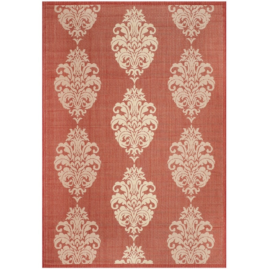 Safavieh Courtyard Red and Natural Rectangular Indoor and Outdoor Machine-Made Throw Rug (Common: 3 x 5; Actual: 31-in W x 60-in L x 0.33-ft Dia)