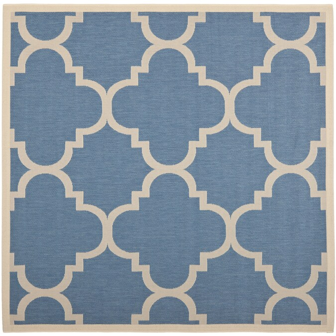 Safavieh Courtyard Lihue 8 X 8 Blue Beige Square Indoor Outdoor Geometric Coastal Area Rug In The Rugs Department At Lowes Com