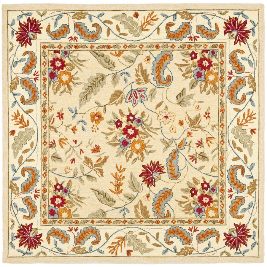 Safavieh Chelsea Spring Ivory Square Indoor Handcrafted Lodge Area Rug (Common: 8 x 8; Actual: 8-ft W x 8-ft L)