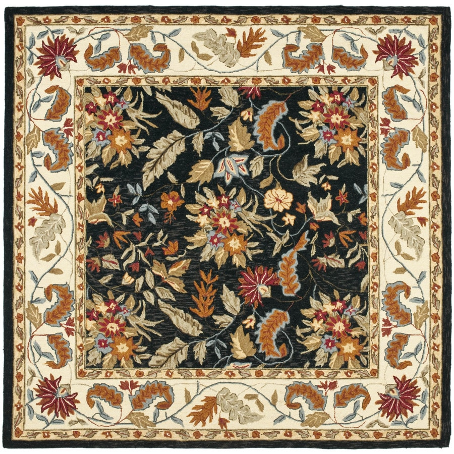 Safavieh Chelsea Square Black Transitional Hand-Hooked Wool Area Rug (Common: 6-ft x 6-ft; Actual: 6-ft x 6-ft)