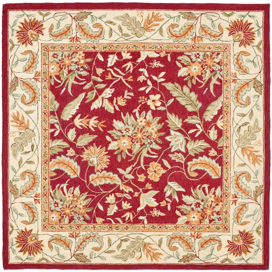 Safavieh Chelsea Spring Red/Multi Square Indoor Handcrafted Lodge Area Rug (Common: 6 X 6; Actual: 6-ft W x 6-ft L)