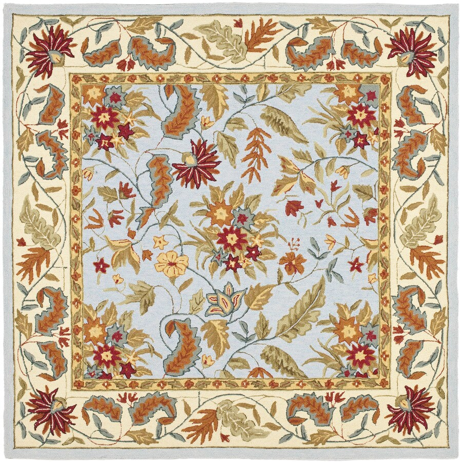 Safavieh Chelsea Spring Light Blue Square Indoor Handcrafted Lodge Area Rug (Common: 8 x 8; Actual: 8-ft W x 8-ft L)