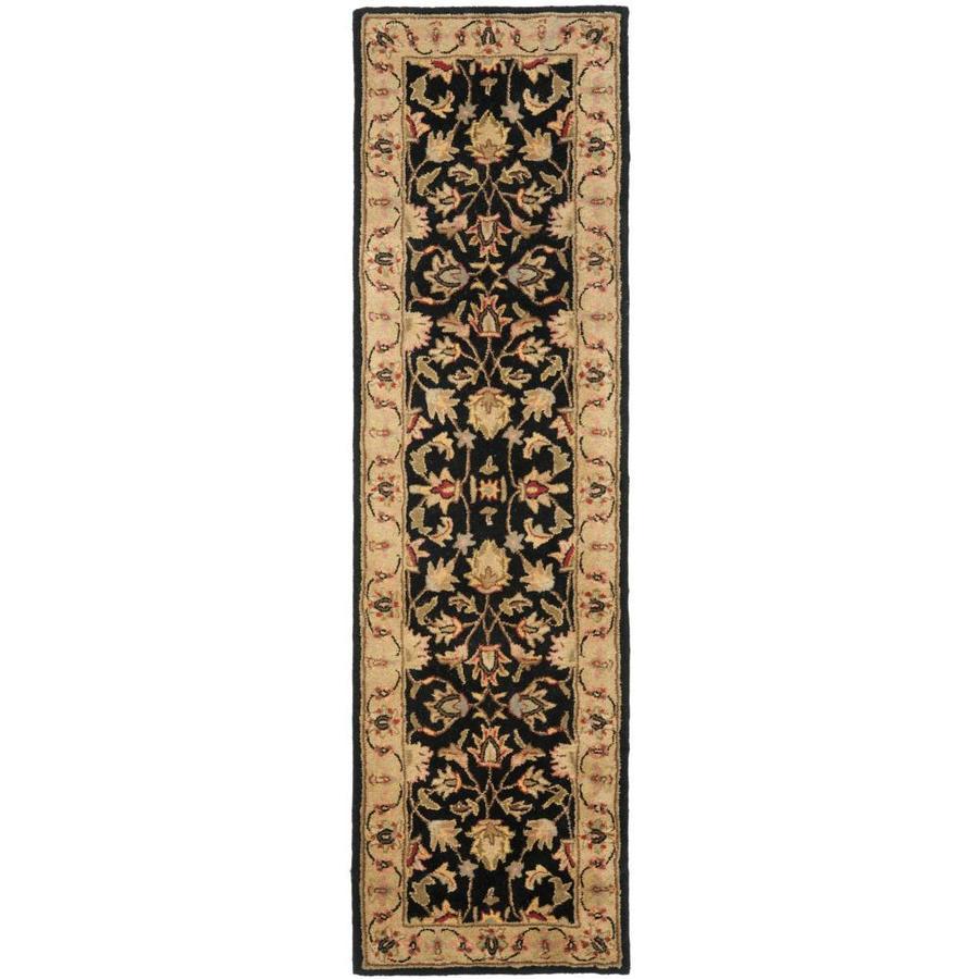 Safavieh Heritage Dymak Black/Gold Indoor Handcrafted Runner (Common: 2 x 8; Actual: 2.25-ft W x 8-ft L)