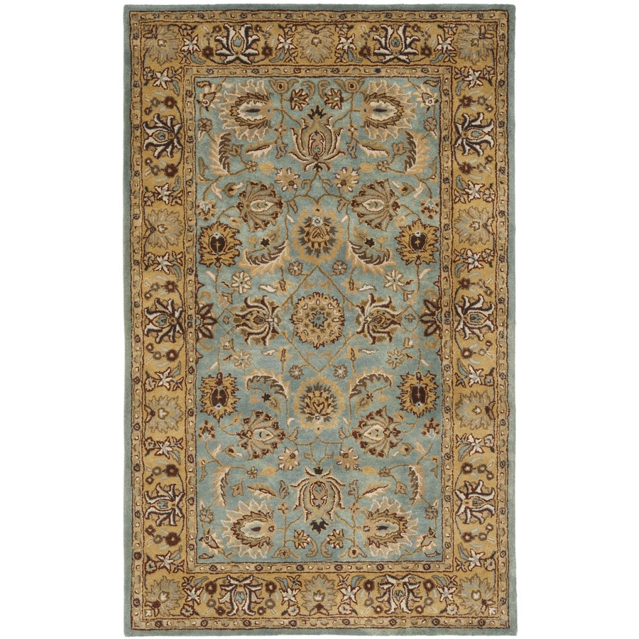 Safavieh Heritage Tekke Blue/Gold Rectangular Indoor Handcrafted Oriental Throw Rug (Common: 3 x 5; Actual: 3-ft W x 5-ft L)