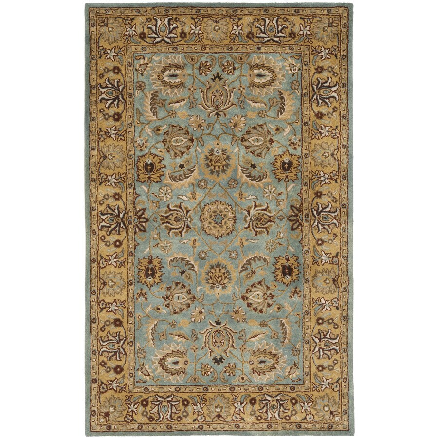 Safavieh Heritage Tekke Blue/Gold Indoor Handcrafted Oriental Area Rug (Common: 5 x 8; Actual: 5-ft W x 8-ft L)