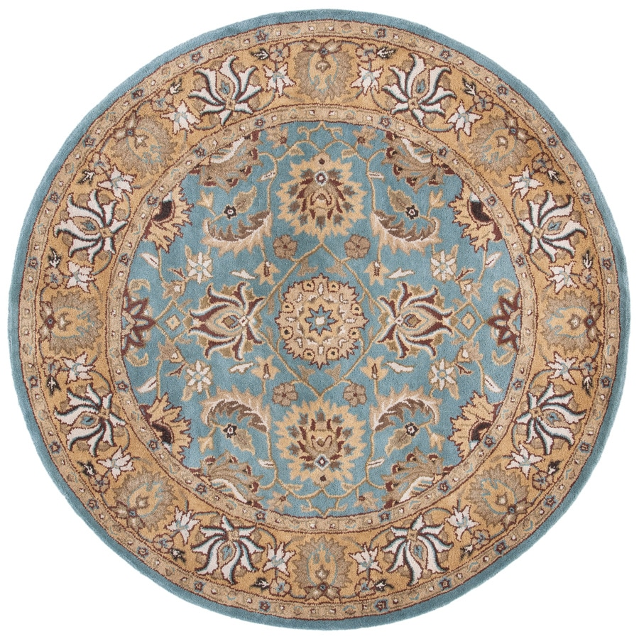 Safavieh Heritage Tekke Blue/Gold Round Indoor Handcrafted Oriental Area Rug (Common: 8 x 8; Actual: 8-ft W x 8-ft L x 8-ft dia)