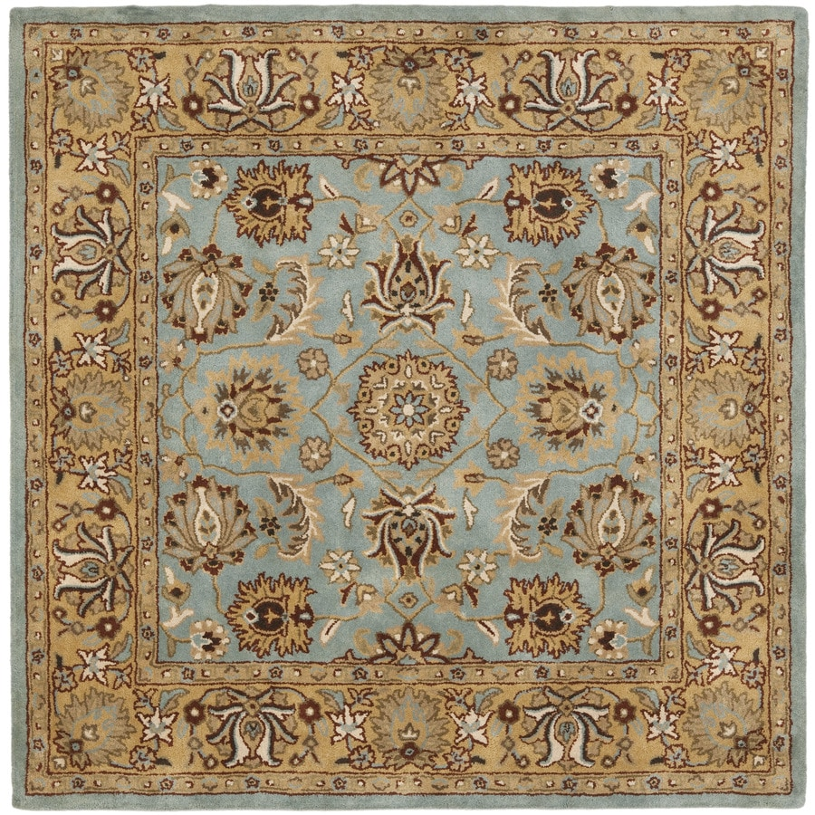 Safavieh Heritage Tekke Blue/Gold Square Indoor Handcrafted Oriental Area Rug (Common: 8 x 8; Actual: 8-ft W x 8-ft L)