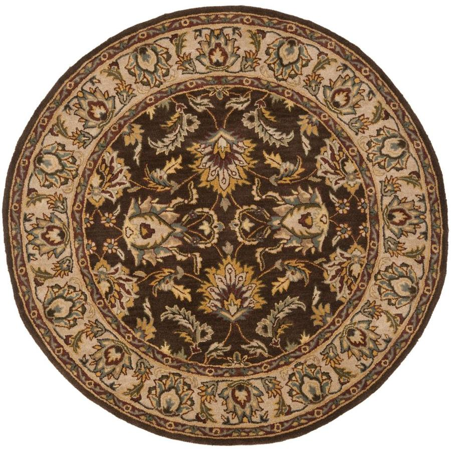 Safavieh Heritage Multicolor and Red Round Indoor Tufted Area Rug (Common: 4 x 4; Actual: 42-in W x 42-in L x 0.33-ft Dia)