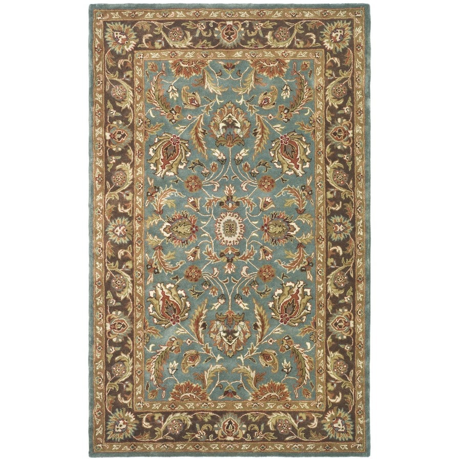 Safavieh Heritage Blue/Brown Rectangular Indoor Handcrafted Oriental Throw Rug (Common: 3 x 5; Actual: 3-ft W x 5-ft L x 0-ft Dia)
