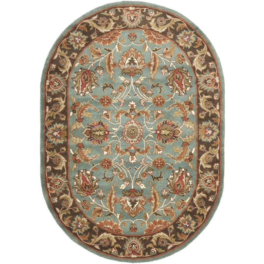 Safavieh Heritage Ganges Blue/Brown Oval Indoor Handcrafted Oriental Area Rug (Common: 4 x 6; Actual: 4.5-ft W x 6.5-ft L)