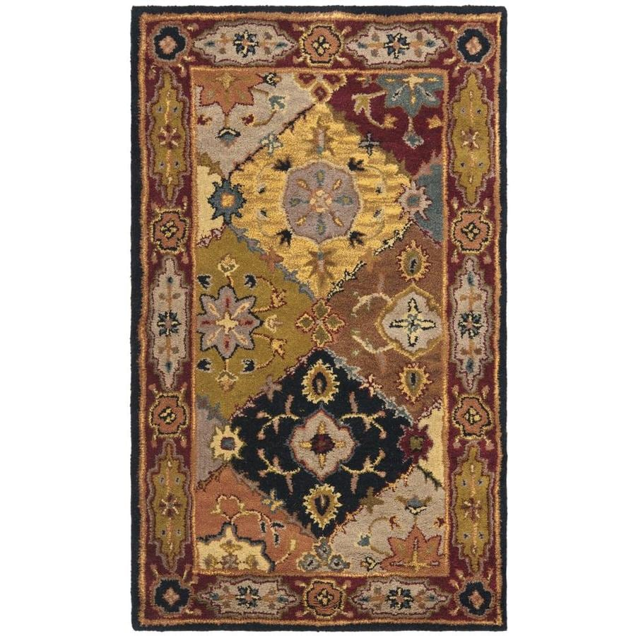 Safavieh Heritage Multicolor and Red Rectangular Indoor Tufted Throw Rug (Common: 3 x 5; Actual: 36-in W x 60-in L x 0.42-ft Dia)
