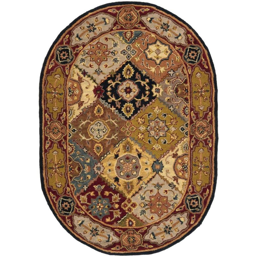 Pasargad Khotan Persian Wool Area Rug 8 X10: Safavieh Heritage Lavar Multi/Red Oval Indoor Handcrafted