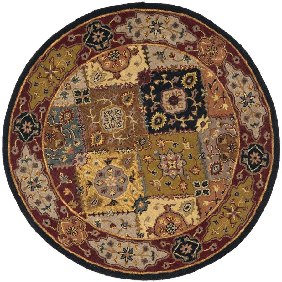 Safavieh Heritage Lavar Multi/Red Round Indoor Handcrafted Oriental Area Rug (Common: 6 x 6; Actual: 6-ft W x 6-ft L x 6-ft Dia)